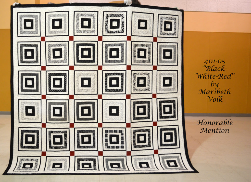 401-05 Black - White - Red Quilt